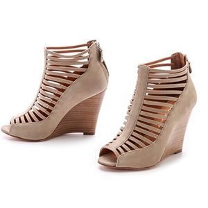 Rebecca minkoff  sidney strappy nude wedge shoes